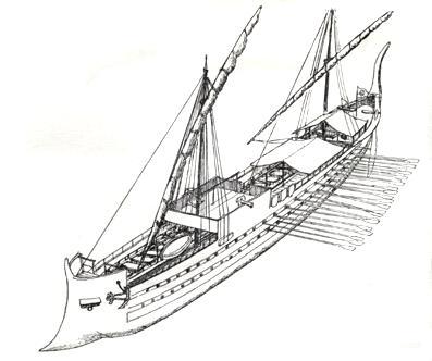Крейсер средневековья - византийский дромон ок. 850 г.